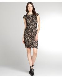 Kay Unger Black and Nude Lace Cap Sleeve Dress - Lyst