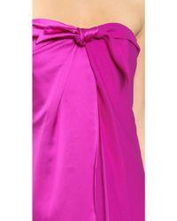 Halston Heritage Strapless Wrap Dress Bright Magenta - Lyst