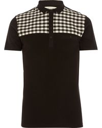 River Island Black Check Yoke Short Sleeve Polo Shirt - Lyst