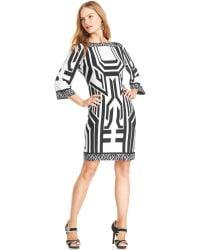 Eci - Boatneck Printed Shift Dress - Lyst