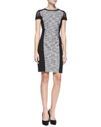 Elie Tahari Jaylene Ponte-panel Tweed Sheath Dress - Lyst