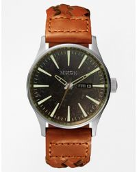 Nixon Sentry Woven Brown Leather Strap Watch - Lyst