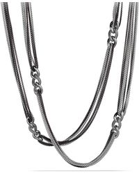 """David Yurman Curb Link Eight-Row Black And White Necklace, 32"""" - Lyst"""