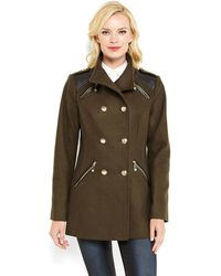 Vince Camuto Double-Breasted Military Coat - Lyst