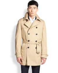 Atelier Scotch Belted Double-Breasted Cotton Trenchcoat beige - Lyst
