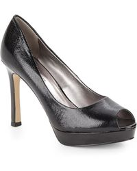Ak Anne Klein Serafina Crackle-Leather Peep-Toe Pumps black - Lyst