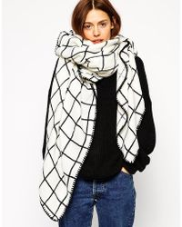 Asos Oversized Grid Check Square Scarf - Lyst