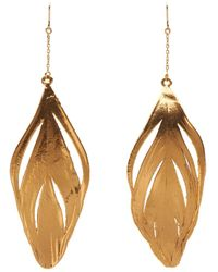 Aurelie Bidermann Plume Yellow-Gold Earrings - Lyst
