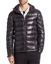 Emporio Armani Hooded Nylon Puffer Jacket black - Lyst