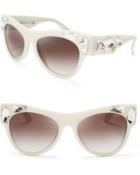 Prada Oversized Crystal Cat Eye Sunglasses - Lyst