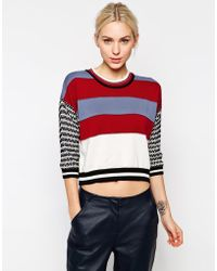 See By Chloé Striped Contrast Sleeve Long Sleeve Sweater - Lyst