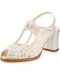 Fendi Patent Cutout Chunky Heel Sandal - Lyst