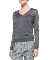 J Brand Julie Lightweight Knit Vneck Sweater Heather Gray - Lyst