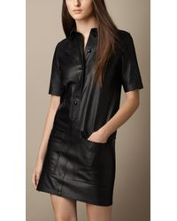 Burberry Nappa Leather Shirt Dress - Lyst