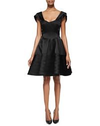 Zac Posen Flared Scoopneck Capsleeve Dress - Lyst