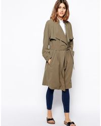 Asos Trench with Waterfall Drape - Lyst