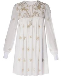 Saint Laurent Star-Embroidered Dress white - Lyst