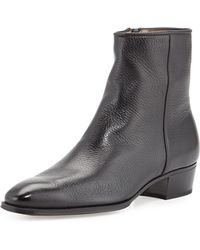 Gravati Leather Sidezip Ankle Boot - Lyst