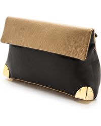 Golden Lane - Metallic Duo Clutch Goldblack - Lyst