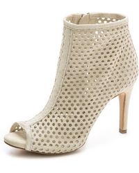 Pedro Garcia Sylvana Suede Perforated Booties - Stone - Lyst