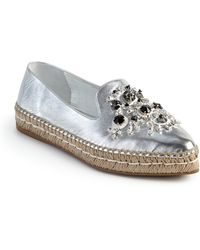 Prada | Embellished Metallic Leather Espadrille Flats | Lyst