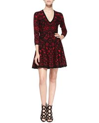 Alexander McQueen Long-Sleeve Full-Skirt Dress - Lyst