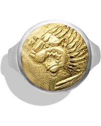 David Yurman Petrvs Lion Signet Ring with Gold - Lyst