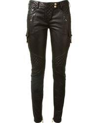 Balmain Black Embossed Leather Biker Pants - Lyst