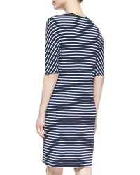 Michael Kors Striped Jersey Drawstring Dress - Lyst