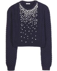 Miu Miu Embellished Wool-Blend Sweater - Lyst