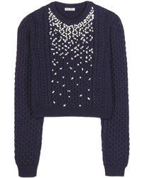 Miu Miu Embellished Woolblend Sweater - Lyst
