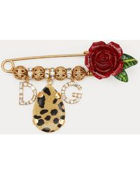 Dolce & Gabbana - Roses And Leopard Brooch - Lyst