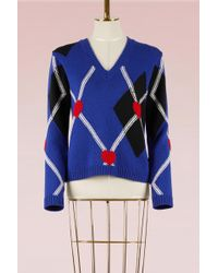 MSGM | Argyle Heart Fitted Jumper | Lyst