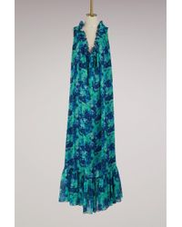 Lanvin - Georgette Silk Printed Long Dress - Lyst