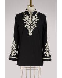 Tory Burch - Cotton Embroidered Blouse - Lyst