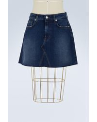 7 For All Mankind - A-line Skirt With Raw Cut - Lyst