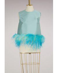 Prada - Satin Feather Sleeveless Top - Lyst