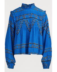 Ganni - Embroidered Long-sleeve Blouse - Lyst
