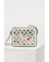 Gucci - Cutout Leather And Floral-print Canvas Shoulder Bag - Lyst