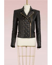 Balmain - Quilted Leather Biker Jacket With Studded Detail - Lyst