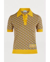 Prada - Knitted Polo Shirt - Lyst