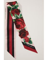 Dolce & Gabbana Roses Silk Bow Scarf - Red