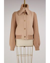 Chloé - Knitted Sleeve Wool Bomber - Lyst