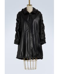 Prada | Leather Hooded Parka | Lyst