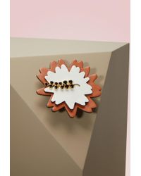 Marni - Leather, Strass And Brass Brooch - Lyst