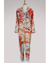 Emilio Pucci | Flamingos Silk Jumpsuit | Lyst