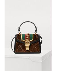 Gucci - Sylvie GG Velvet Mini Hangbag - Lyst