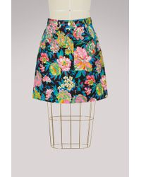 MSGM | Denim Flowers Skirt | Lyst