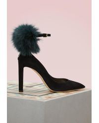 Jimmy Choo - South 100 Black Suede Pom-pom Pump - Lyst
