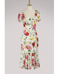 Dolce & Gabbana - Flowers Silk Dress - Lyst